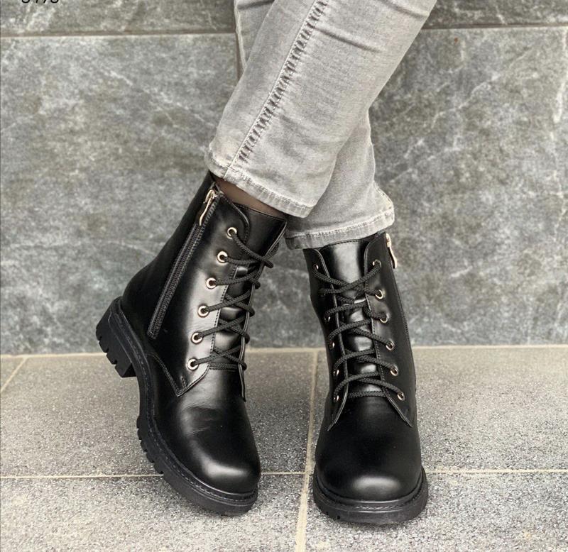 Новые женские кожаные черные зимние ботинки