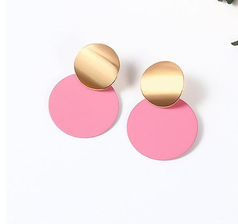 Двухцветные серьги золотистого и розового цвета