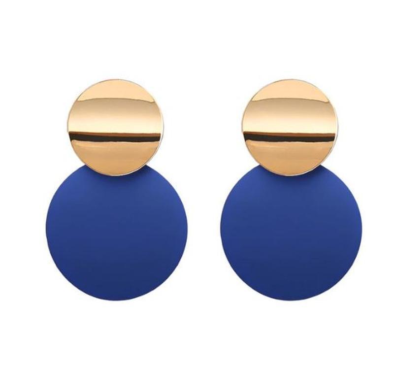 Двухцветные серьги золотистого и синего цвета
