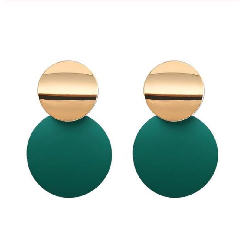 Двухцветные серьги золотистого и зеленого цвета