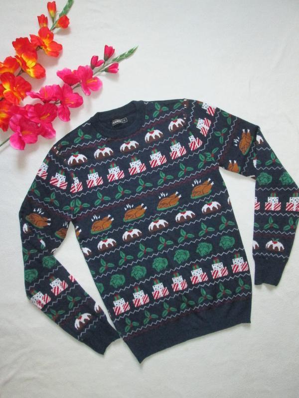 Классный новогодний свитер кофта с рождественским принтом peac...