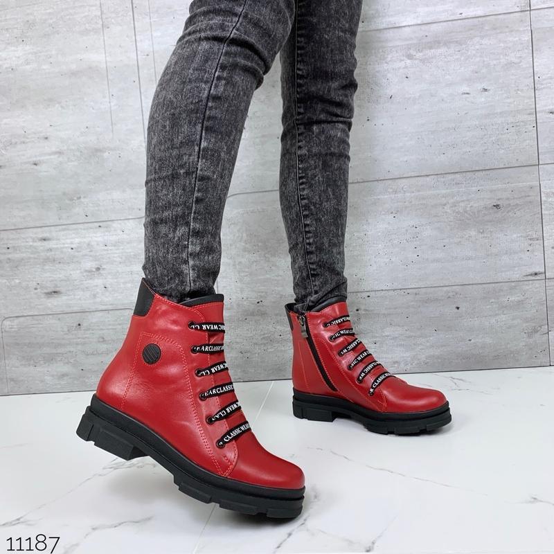 ❤ женские красные зимние кожаные ботинки сапоги полусапожки бо...