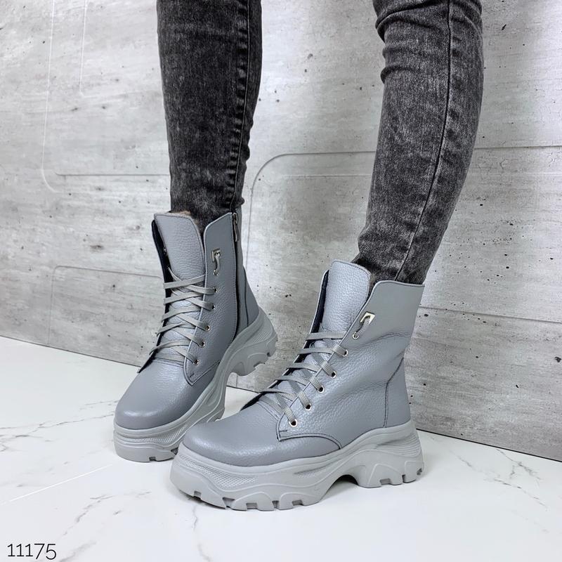 ❤ женские серые зимние кожаные ботинки сапоги полусапожки боти...