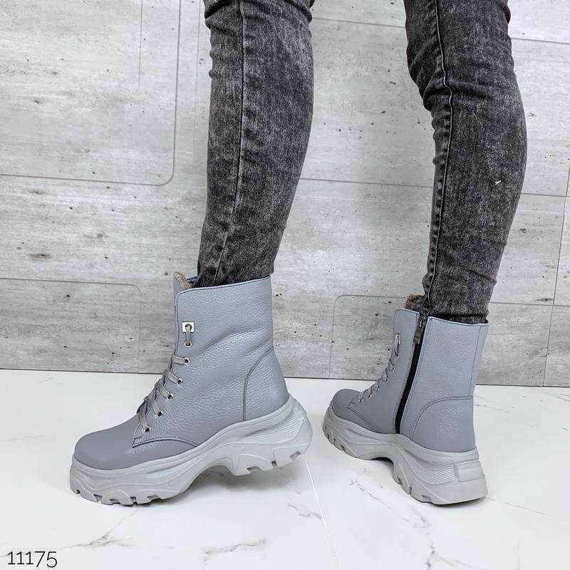 ❤ женские серые зимние кожаные ботинки сапоги полусапожки боти... - Фото 2