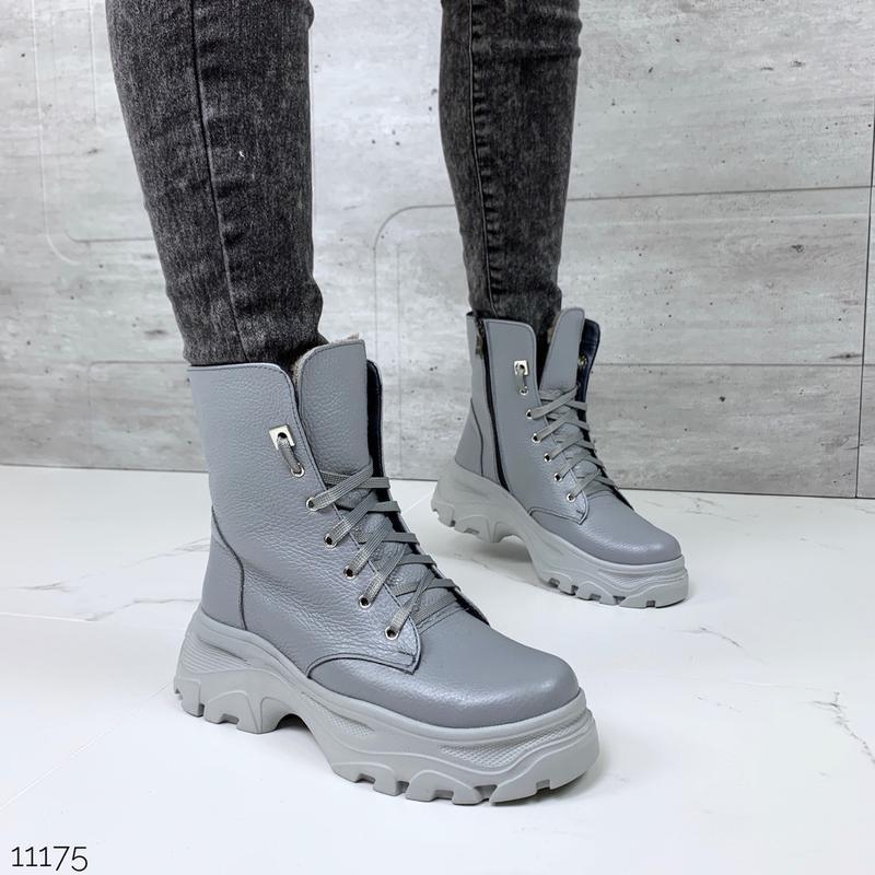 ❤ женские серые зимние кожаные ботинки сапоги полусапожки боти... - Фото 3