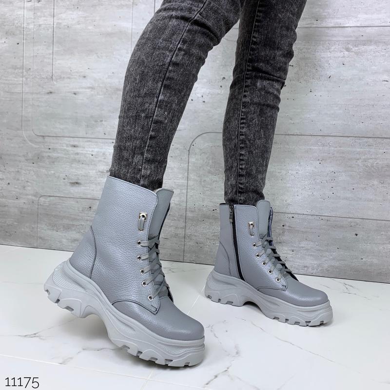 ❤ женские серые зимние кожаные ботинки сапоги полусапожки боти... - Фото 4