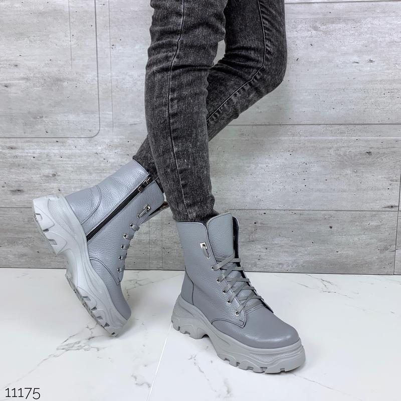 ❤ женские серые зимние кожаные ботинки сапоги полусапожки боти... - Фото 5