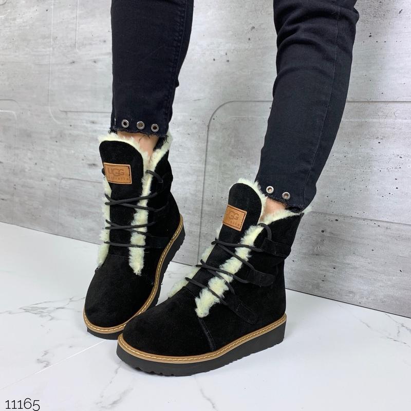 ❤ женские черные зимние  замшевые ботинки ugg сапоги полусапож...