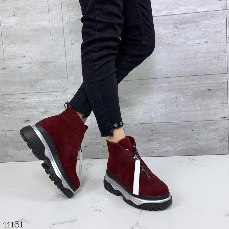❤ женские бордовые красные зимние замшевые ботинки полусапожки...