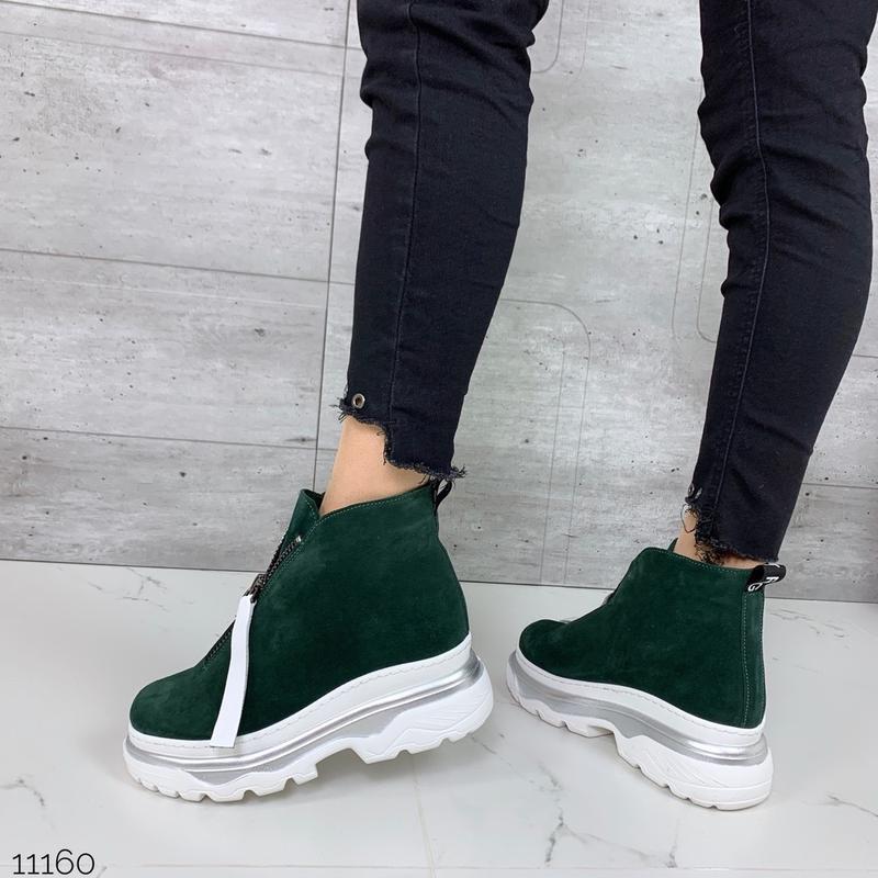 ❤ женские зеленые зимние замшевые ботинки сапоги полусапожки б... - Фото 2