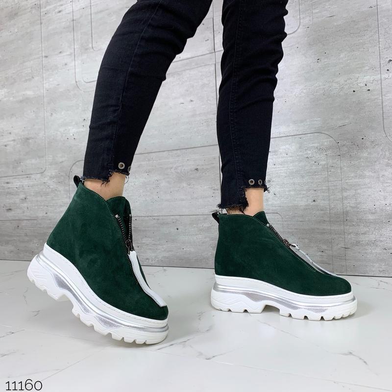 ❤ женские зеленые зимние замшевые ботинки сапоги полусапожки б... - Фото 5