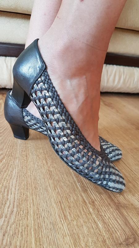 Кожаные туфли сеточки (0301)