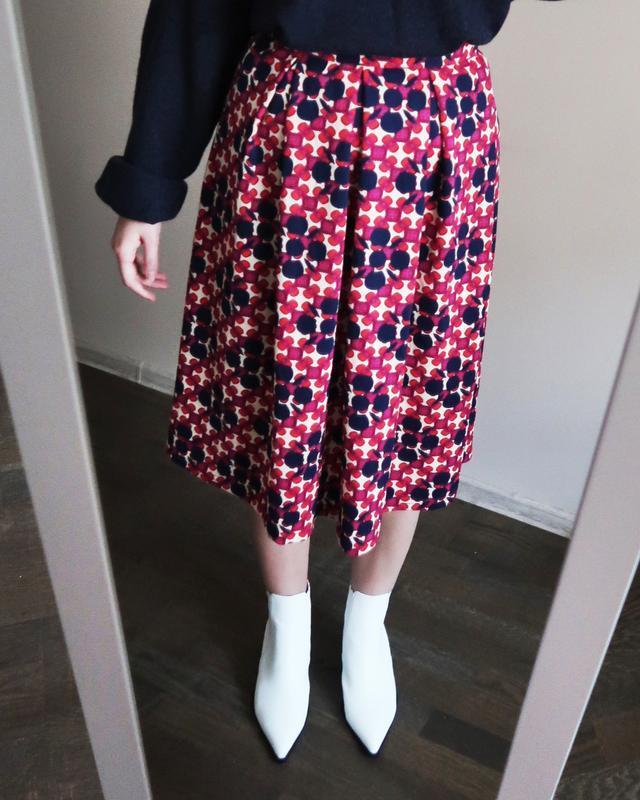 Міді спідниця/ яркая миди юбка с принтом от izabel london