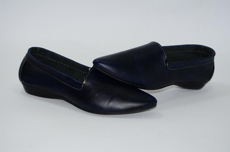 Женские кожаные туфли, синие
