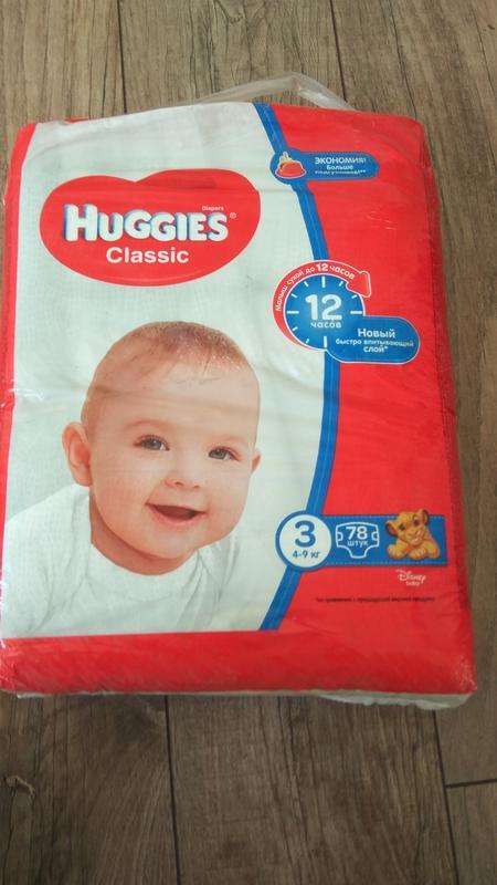 Памперсы Huggies Classic, р.3 (4-9 кг), 78 шт. в упаковке