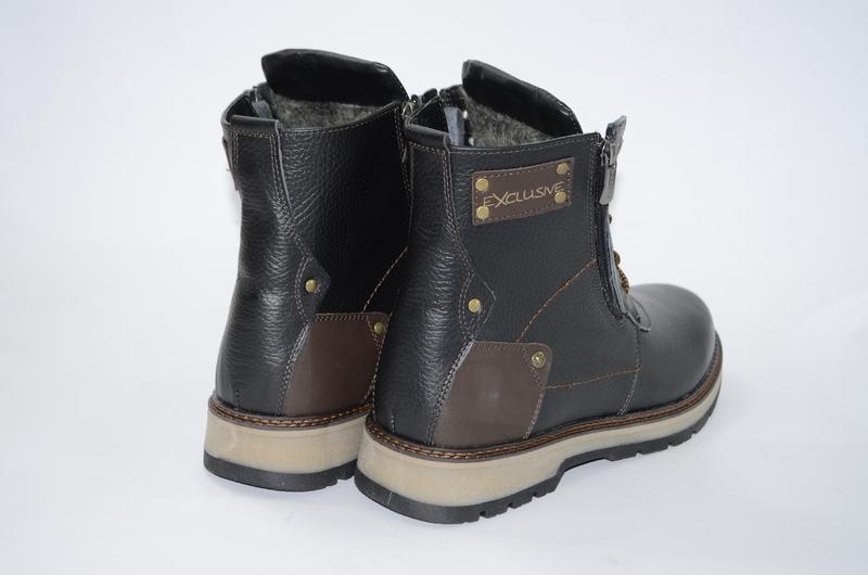 Мужские высокие зимние ботинки  из натуральной кожи - Фото 2