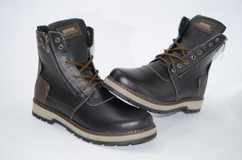 Мужские высокие зимние ботинки  из натуральной кожи - Фото 3