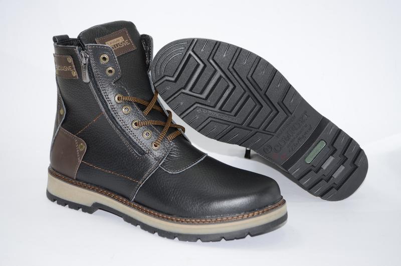 Мужские высокие зимние ботинки  из натуральной кожи - Фото 4