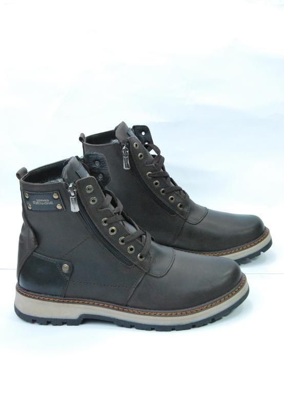 Zangak ботинки мужские зимние коричневые кожа