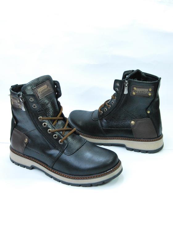 Zangak ботинки мужские зимние чёрно-коричневые кожа - Фото 2