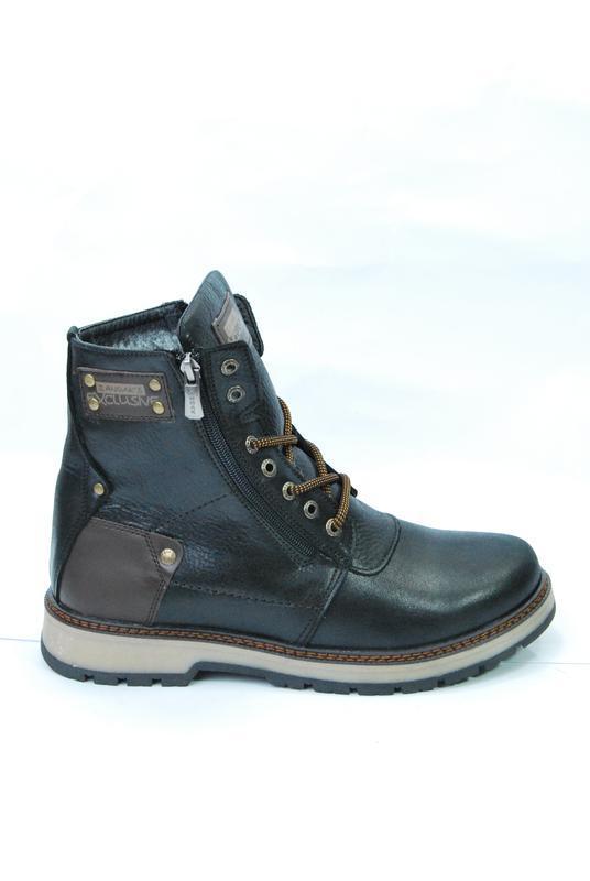 Zangak ботинки мужские зимние чёрно-коричневые кожа - Фото 3