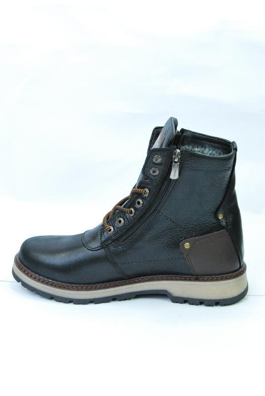 Zangak ботинки мужские зимние чёрно-коричневые кожа - Фото 4
