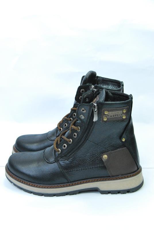Zangak ботинки мужские зимние чёрно-коричневые кожа - Фото 6