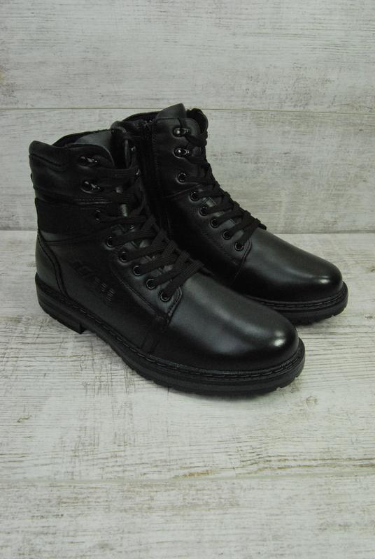 Ботинки мужские зимние чёрные кожа,натуральный мех - Фото 3