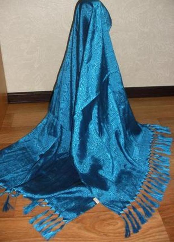 Красивый большой шелковый шарф палантин 100% тайский шелк факт...