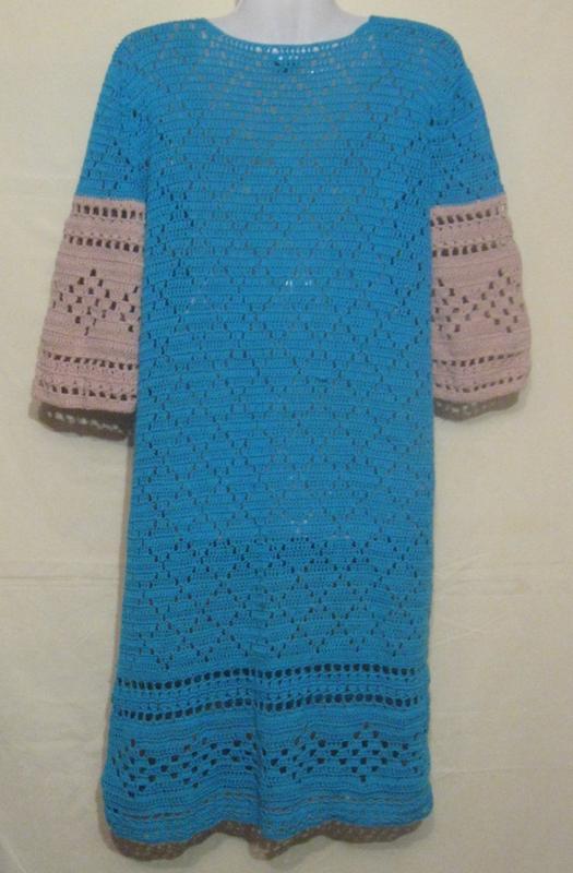 Платье женское миди голубое вязаное.46р-р. - Фото 2