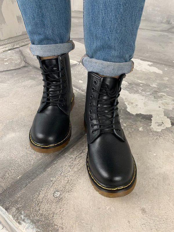 Шикарные женские зимние ботинки dr. martens 1460 black fur 😍 (... - Фото 9