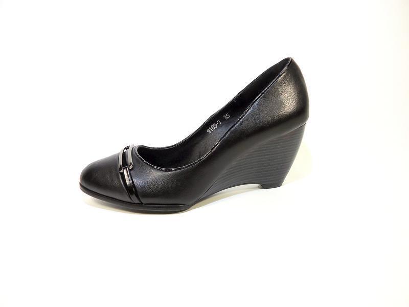 Туфли женские camidy, на устойчивой танкетке, черные, нарядные...