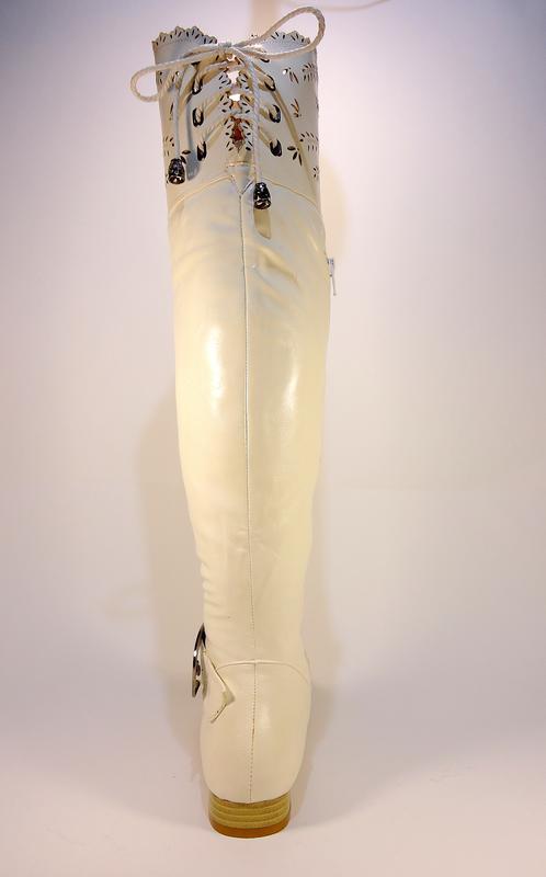 Женские демисезонные белые сапоги ботфорты на устойчивом каблу... - Фото 3