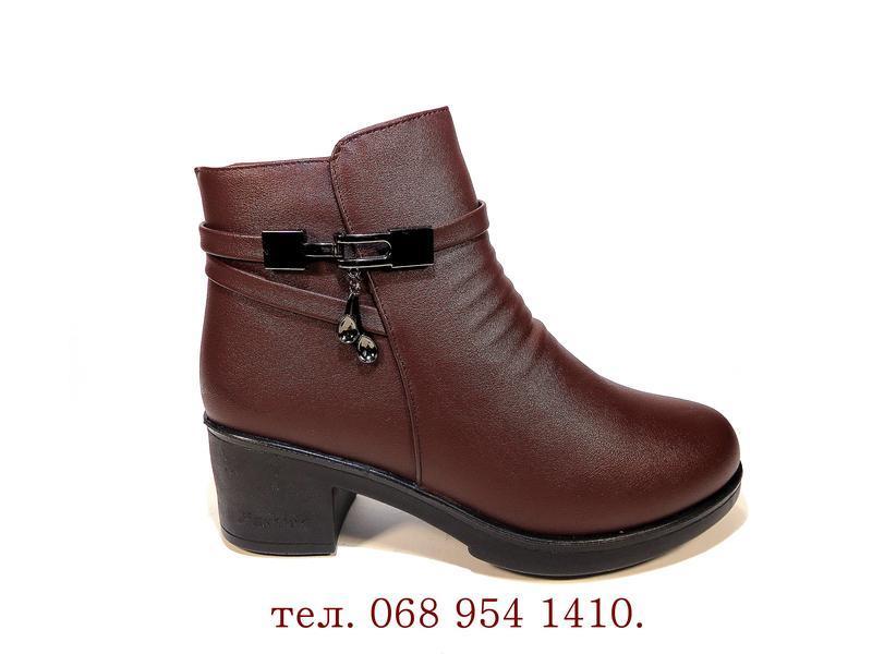 Ботинки женские, зимние, коричневые, на удобном каблуке. разме... - Фото 2