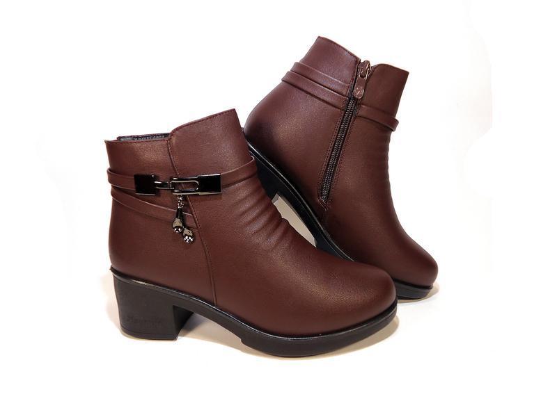 Ботинки женские, зимние, коричневые, на удобном каблуке. разме... - Фото 3