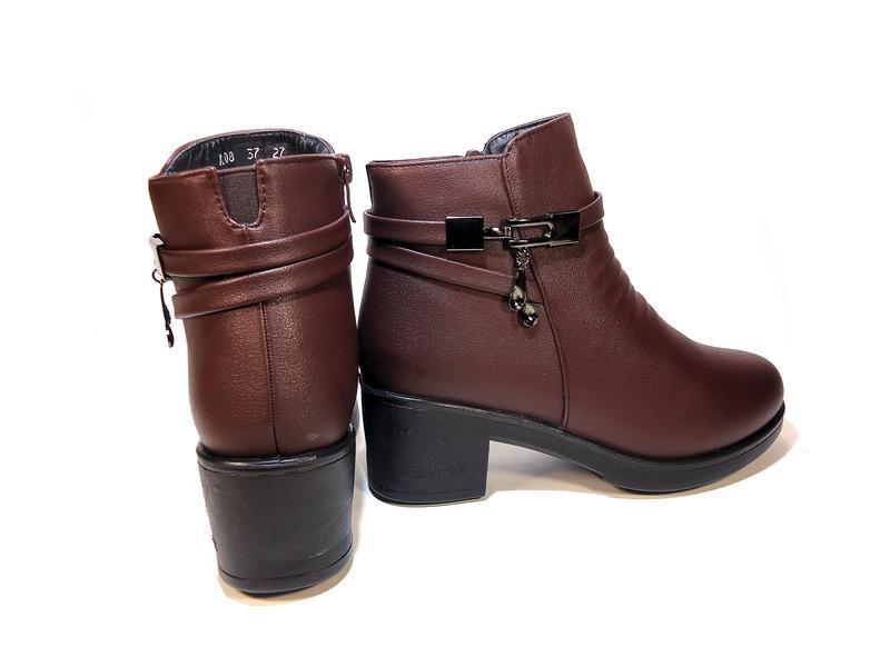 Ботинки женские, зимние, коричневые, на удобном каблуке. разме... - Фото 5