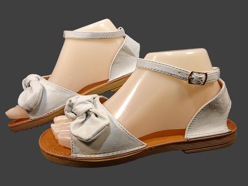 Босоножки сандалии женские с бантом, замшевые. - Фото 2
