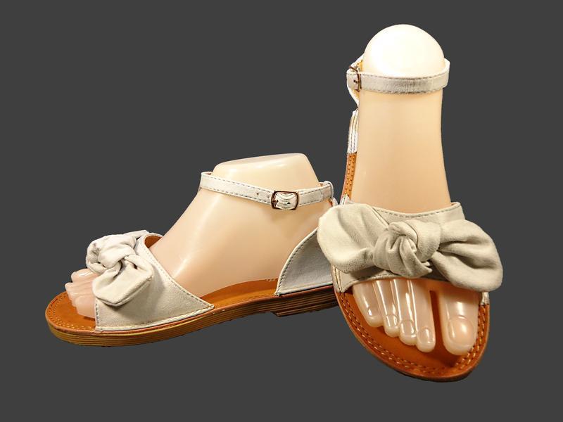 Босоножки сандалии женские с бантом, замшевые. - Фото 3