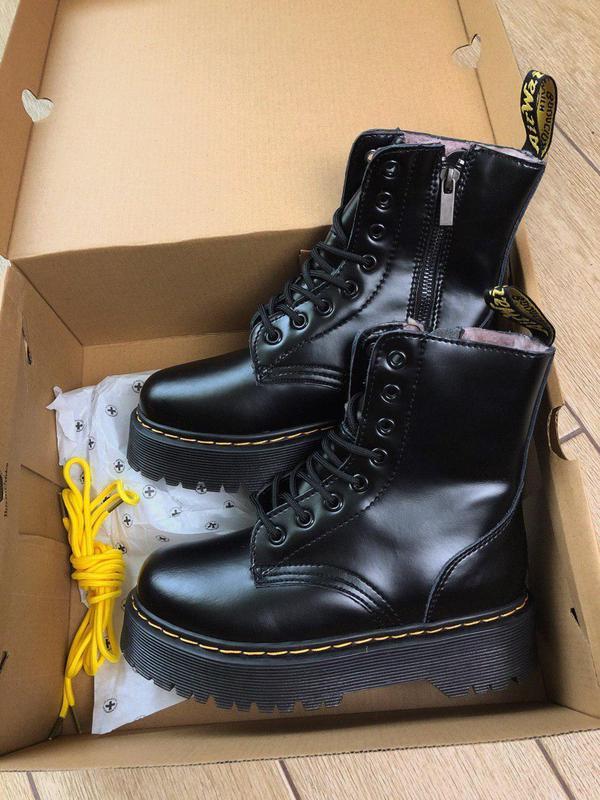 Женские зимние кожаные ботинки/ сапоги dr. martens  jadon blac... - Фото 4