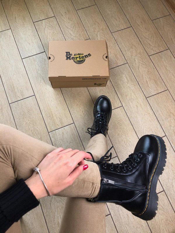 Женские зимние кожаные ботинки/ сапоги dr. martens  jadon blac... - Фото 6