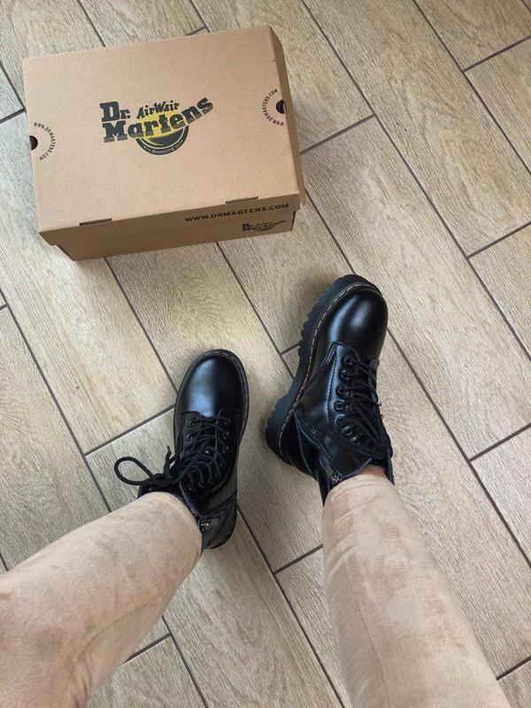 Женские зимние кожаные ботинки/ сапоги dr. martens  jadon blac... - Фото 7