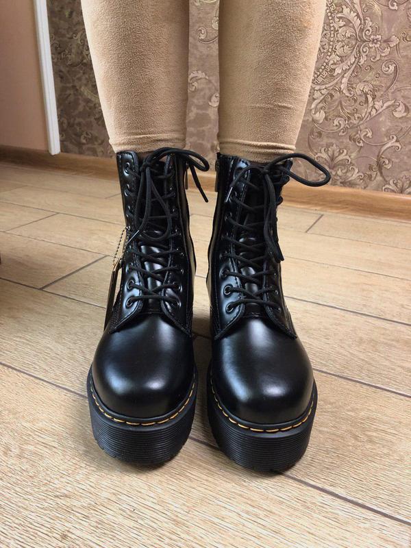 Женские зимние кожаные ботинки/ сапоги dr. martens  jadon blac... - Фото 9