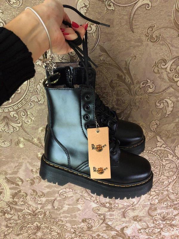 Женские зимние кожаные ботинки/ сапоги dr. martens  jadon blac... - Фото 10