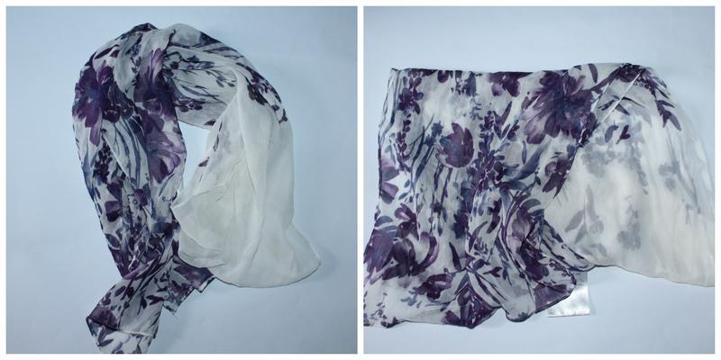 Нежный тонкий шарф с цветочками