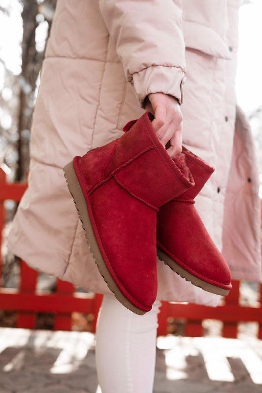 Ugg classic mini red! женские замшевые зимние угги/ сапоги/ бо...