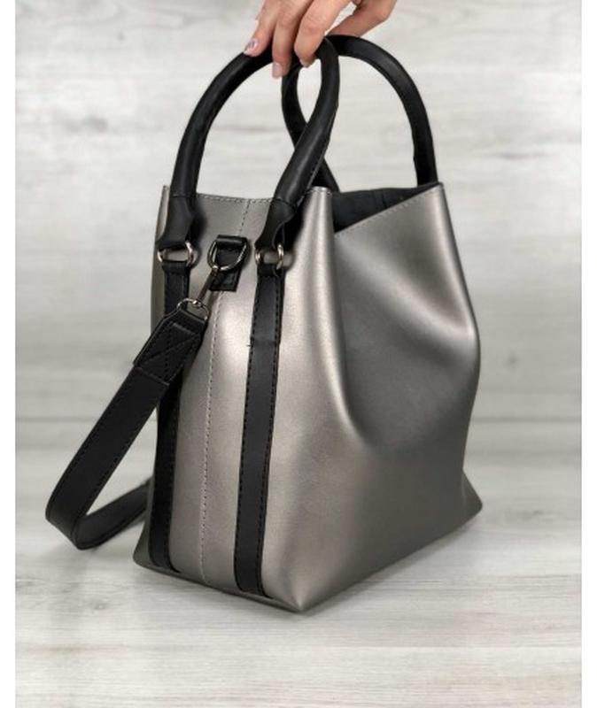 Молодежная женская сумка леора металлик - Фото 3