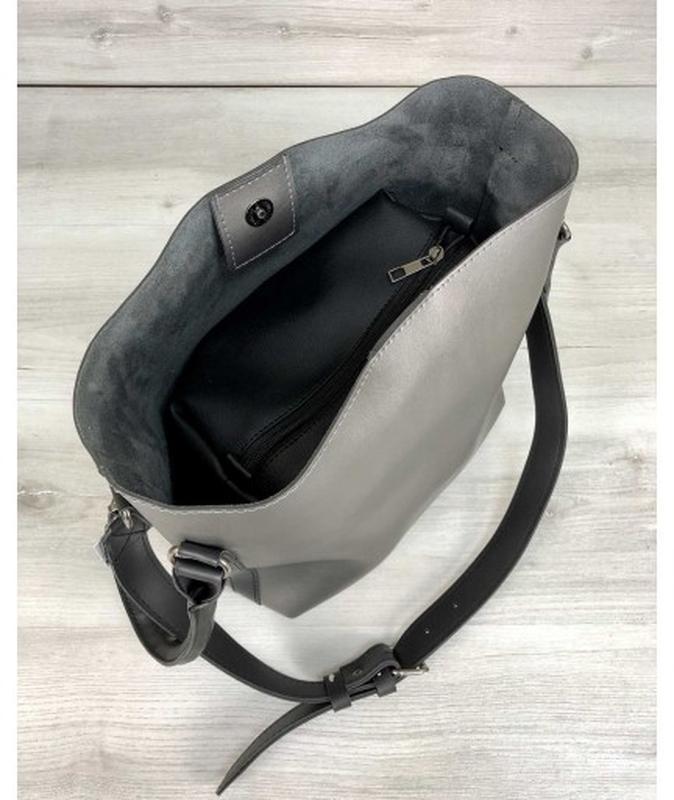 Молодежная женская сумка леора металлик - Фото 7