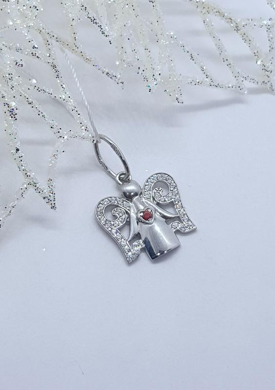 Серебряная подвеска  ангел с родиевым покрытием