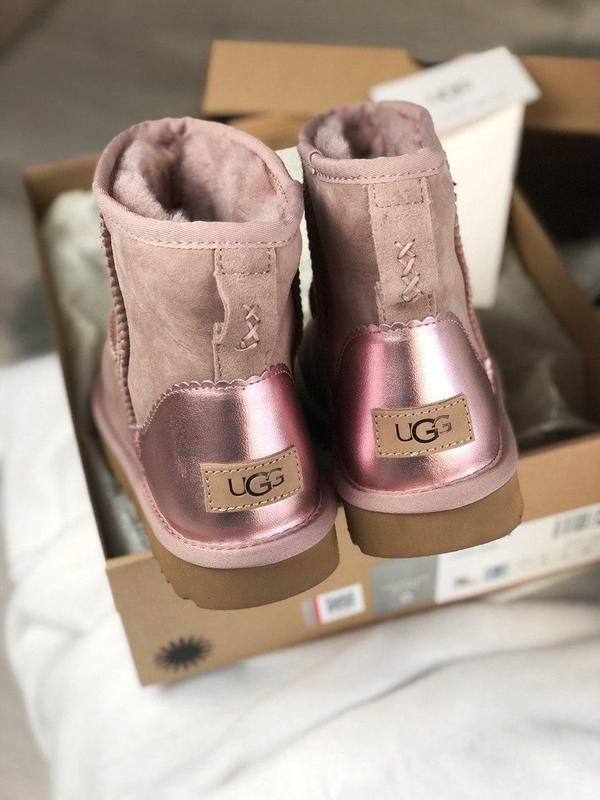 Ugg mini pink metallic! женские замшевые зимние угги/ сапоги/ ...