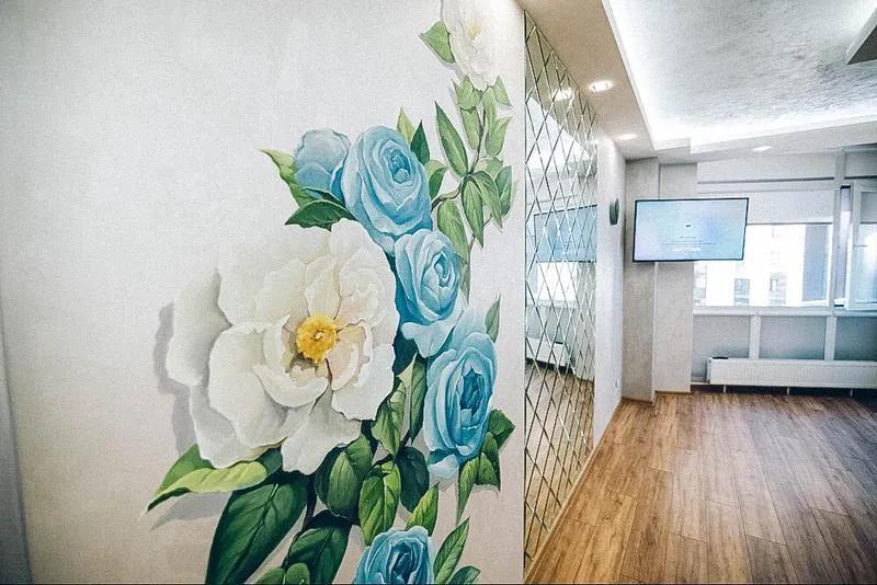 Роспись стен, обои ручной работы, декор покрытия, микробетон